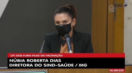 Núbia Dias defendeu os servidores vacinados e disse que não cabe ao Estado vacinar, mas sim aos municípios